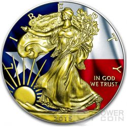 US STATE FLAGS TEXAS Walking Liberty Oro Bandiera Moneta Argento 1$ US Mint 2015