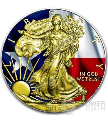 US STATE FLAGS TEXAS Walking Liberty Oro Bandiera Moneta Argento 1$ US Mint 2015