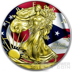 US STATE FLAGS OHIO Walking Liberty Oro Bandiera Moneta Argento 1$ US Mint 2015