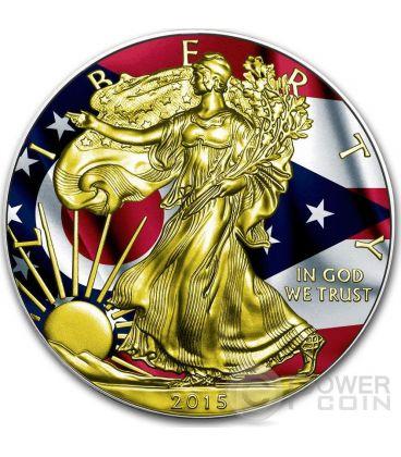 US STATE FLAGS OHIO Walking Liberty Oro Bandiera Moneta Argento 1$ US Mint 2015