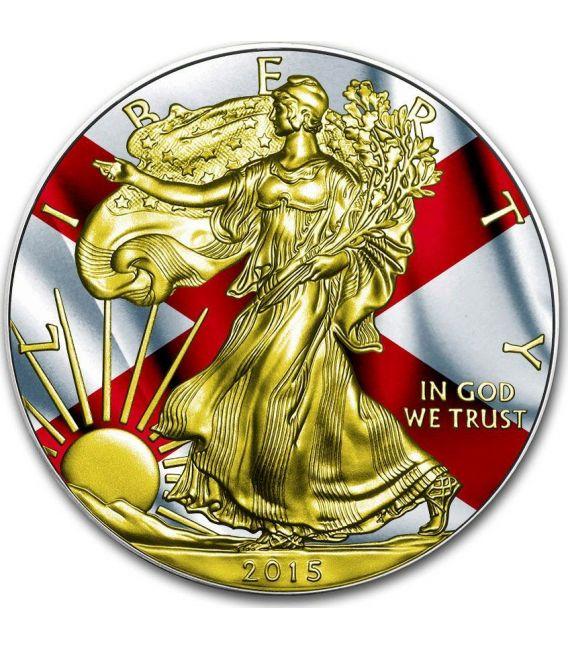 US STATE FLAGS ALABAMA Walking Liberty Oro Bandiera Moneta Argento 1$ USA 2015