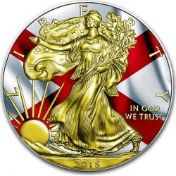 US STATE FLAGS ALABAMA Walking Liberty Oro Bandiera Moneta Argento 1$ US Mint 2015