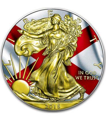 US STATE FLAGS ALABAMA Walking Liberty Oro Bandiera Moneta Argento 1$ US Mint 2015