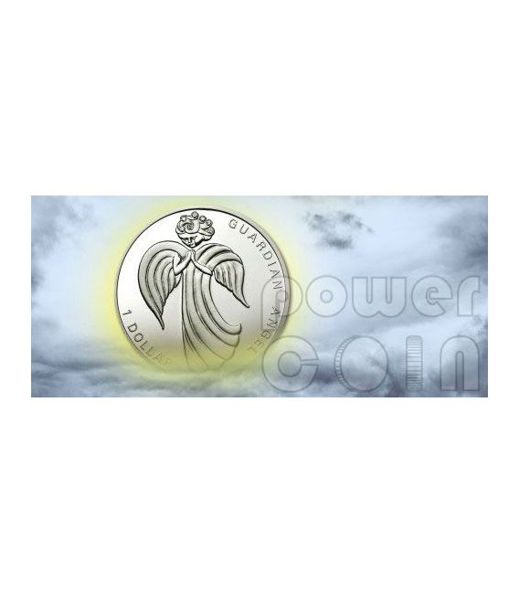 GUARDIAN ANGEL Moneda Plata Swarovski 1$ Nauru 2009