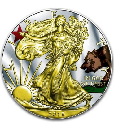 US STATE FLAGS CALIFORNIA Walking Liberty Oro Bandiera Moneta Argento 1$ US Mint 2015