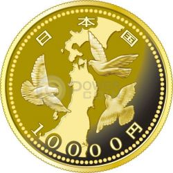 PIGEONS EARTHQUAKE RECONSTRUCTION Program Oro Proof Moneda 10000 Yen Japan 2015