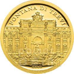 TREVI FOUNTAIN Rome Gold Münze 1$ Palau 2009