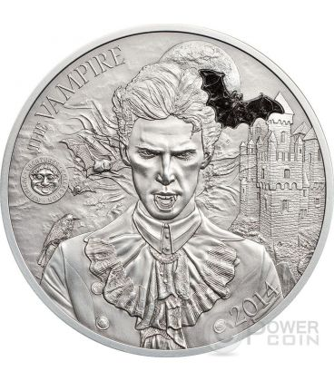 VAMPIRE Marble Mythical Creatures Collection High Relief Silver Coin 2 Oz 10$ Palau 2014