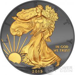 GOLDEN ENIGMA Walking Liberty Black Ruthenium 1 Oz Moneda Plata 1$ Dollar USA 2015