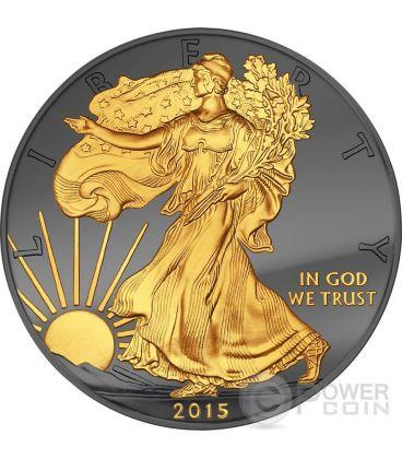 GOLDEN ENIGMA Walking Liberty Nera Rutenio Moneta Argento 1$ Dollar US Mint 2015