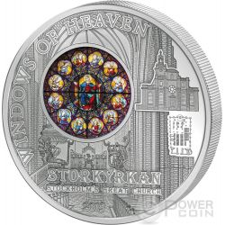 WINDOWS OF HEAVEN STOCKHOLM Great Church Storkyrkan Saint Nicholas Серебро Монета 10$ Острова Кука 2015