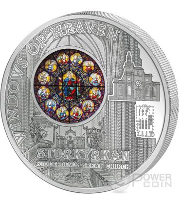 WINDOWS OF HEAVEN STOCKHOLM Great Church Storkyrkan Saint Nicholas Silver Coin 10$ Cook Islands 2015