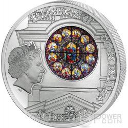 WINDOWS OF HEAVEN STOCKHOLM Great Church Storkyrkan Saint Nicholas Silber Münze 10$ Cook Islands 2015