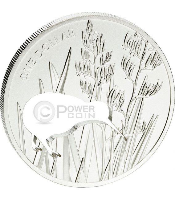 KIWI SILHOUETTE Laser Cut Серебро Proof Монета 1$ Новая Зеландия  2015