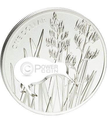 KIWI SILHOUETTE Taglio Laser Moneta Argento 1$ Nuova Zelanda 2015