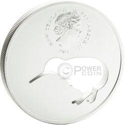 KIWI SILHOUETTE Laser Cut Silber Proof Münze 1$ New Zealand 2015