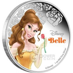 BELLE Disney Princess 1 oz Plata Proof Moneda 2$ Niue 2015