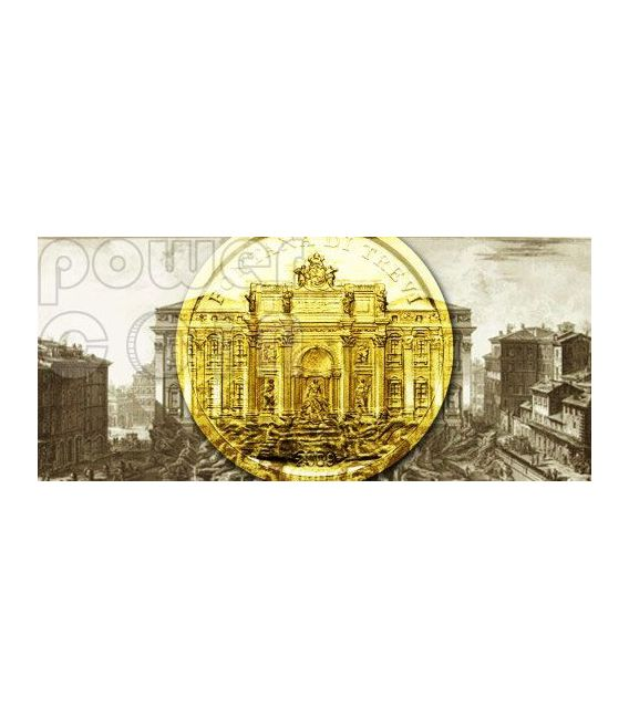 TREVI FOUNTAIN Rome Moneda Oro 1$ Palau 2009