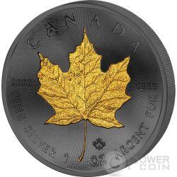 GOLDEN ENIGMA Maple Leaf Nera Rutenio Moneta Argento 5$ Dollar Canada 2015