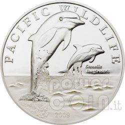 SPINNER DOLPHINS Silver Coin Proof Swarovski 2$ Niue 2009