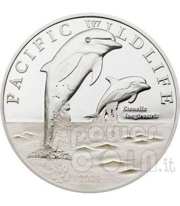 DELFINI SPINNER Dolphins Moneta Argento Swarovski 2$ Niue 2009
