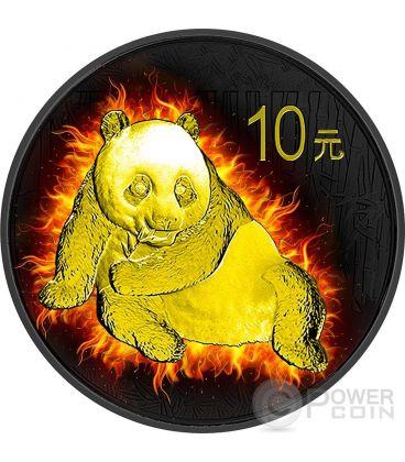 BURNING PANDA Fire Black Ruthenium Gold 1 Oz Silver Coin 10 Yuan China 2015