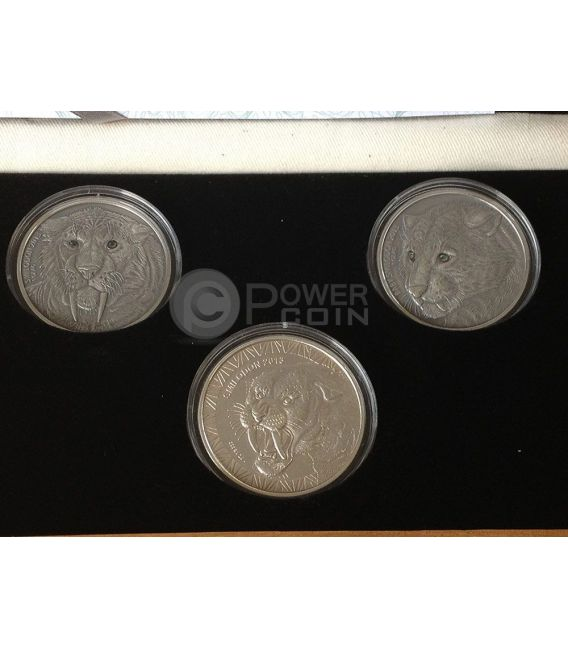 SMILODON SET Father Child Special Issue Real Eye Saber Toothed Tiger 1 Oz 3 Silver Coin 1000 Francs Burkina Faso 2013