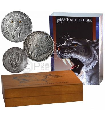 SMILODON SET Father Child Special Issue Real Eye Saber Toothed Tiger 4 Oz 3 Silver Coin 5000 Francs Burkina Faso 2013
