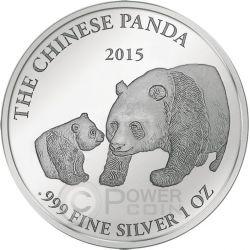 PANDA Smick Ounce Edition Silver Coin 1000 Francs Gabon 2015