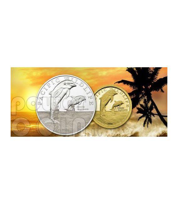 SPINNER DOLPHINS Moneda Plata Proof Swarovski 2$ Niue 2009