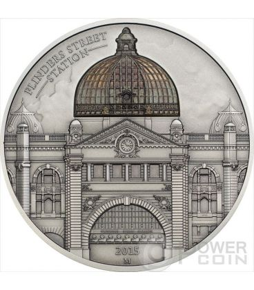 FLINDERS STREET STATION Melbourne Alti Rilievi Moneta 2 Oz Argento 10$ Cook Islands 2015