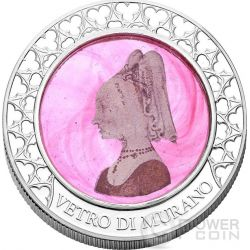 VENETIAN GLASS PINK LADY Handcrafted Murano Moneda Plata 1000 Francs Congo 2015