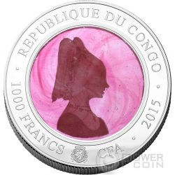 VENETIAN GLASS PINK LADY Handcrafted Murano Silver Coin 1000 Francs Congo 2015