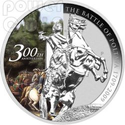 POLTAVA Battle 300th Anniversary 1709 Moneda Plata 1$ Tuvalu 2009