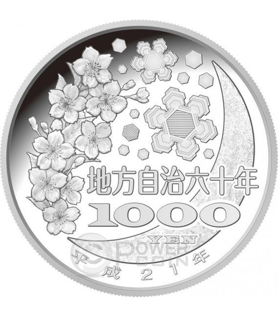 NAGANO 47 Prefectures (4) Silber Proof Münze 1000 Yen Japan Mint 2009
