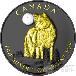 GOLDEN WOLF Lupo Wildlife At Night Nera Rutenio Moneta Argento 5$ Canada 2011