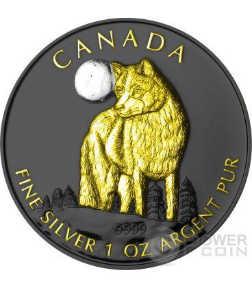 GOLDEN WOLF Lupo Wildlife At Night Nera Rutenio Moneta Argento 5$ Canada 2011