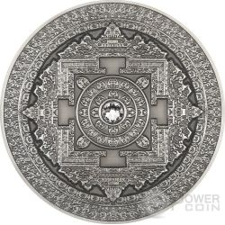 KALACHAKRA Mandala Art Swarovski Alti Rilievi Moneta Argento 3 Oz 10$ Fiji 2015