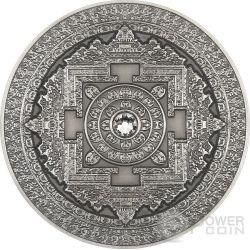 KALACHAKRA Mandala Art Swarovski High Relief 3 Oz Silber Münze 10$ Fiji 2015