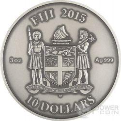KALACHAKRA Mandala Art Swarovski High Relief 3 Oz Moneda Plata 10$ Fiji 2015