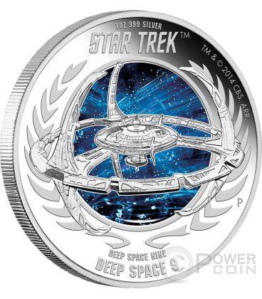 DEEP SPACE NINE Stazione Spaziale Star Trek Moneta Argento 1$ Tuvalu 2015