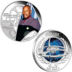 CAPTAIN BENJAMIN SISKO DEEP SPACE NINE Stazione Spaziale Star Trek Next Generation Set Moneta Argento 1$ Tuvalu 2015