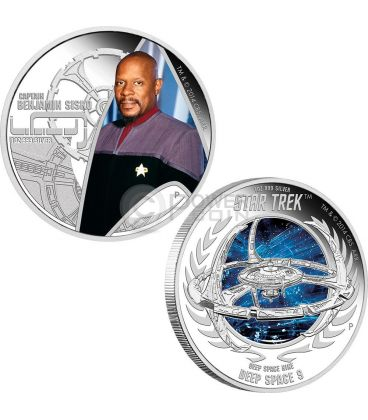 CAPTAIN BENJAMIN SISKO DEEP SPACE NINE Space Station Star Trek Two Silver Coin Set 1$ Tuvalu 2015