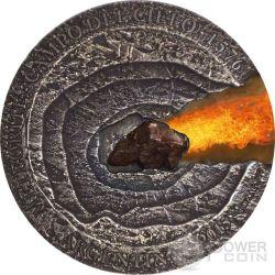 METEORITE CAMPO DEL CIELO 1576 Meteor Crater Moneta Argento 1$ Niue 2015