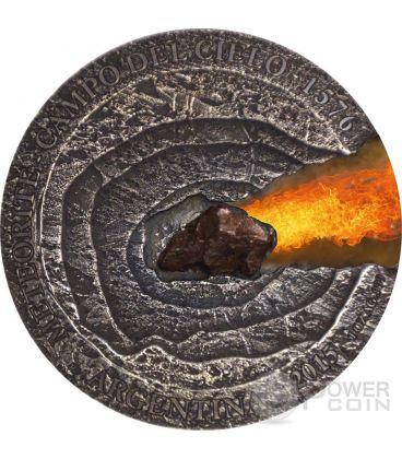 METEORITE CAMPO DEL CIELO 1576 Meteor Crater Silver Coin 1$ Niue Island 2015
