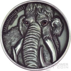 MAMMOTH MOTHER Real Eyes Prehistoric 1 Oz Silver Coin 1000 Francs Burkina Faso 2015