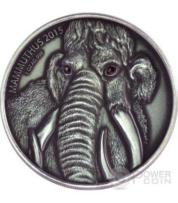 MAMMOTH MOTHER Real Eyes Prehistoric 1 Oz Silver Coin 1000 Francs Burkina Faso 2015