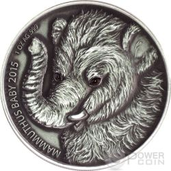 MAMMOTH BABY Real Eyes Prehistoric 1 Oz Silver Coin 1000 Francs Burkina Faso 2015