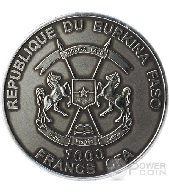 MAMMUT BABY Real Eye Preistoria Moneta Argento 1 Oz 1000 Franchi Burkina Faso 2015