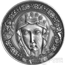 HOLY MARY MOTHER OF GOD Sancta Maria Mater Dei 1 Oz Silver Coin 1000 Francs Burkina Faso 2015